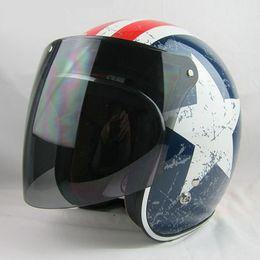 Wholesale Motorcycles Helmet Jet - TOP quality 3-snap jet motorcycle vintage helmet shield lens open face moto helmet glasses scooter retro Helmets visor cascos para moto