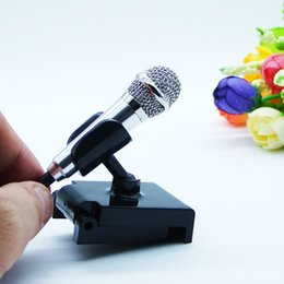Wholesale chat mic - 3.5mm audio plug Wired Mini Microphone with Stand Portable Stereo Condenser Mic for Chatting Singing Karaoke PC  Phone Ipad etc