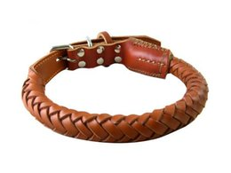 Wholesale Pet Leather Products - Handmade Soft Durable Braided Leather Dog Collars Pet Products 60CM,65CM