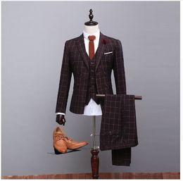 Wholesale Trajes Formal - 3 Pieces Custom Tailor Made Brown Checked Men Suits Wedding Tuxedos For Men bodas trajes novio 2016 Formal Suits Hot Sale