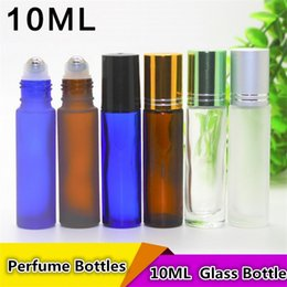 Wholesale Brown Amber Glass Bottles - Portable 10ML MINI ROLL ON Glass bottle fragrance PERFUME Amber Brown THICK GLASS BOTTLES ESSENTIAL OIL bottle Steel Metal Roller ball 3010