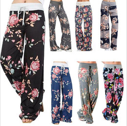 Wholesale womens floral print pants - Ladies Summer Wide Leg Loose Trousers Floral Printed Palazzo Womens Pants High Waist Elastic Trouser 7 Styles OOA3202