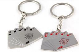 Wholesale Flush Poker - Fashion poker key rings alloy Royal Flush pendant poker keychain key chains bags key pendant jewelry promotion Christmas gift