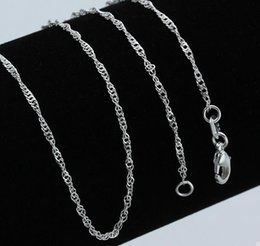 Wholesale Brass Wave - Wholesale (10pcs lot) Plated 925 Sterling Silver Necklaces water wave chain Safety without stimulation not fade Necklaces Length 45cm*1.5mm