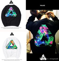 Wholesale Mens Hoodie Sweaters - New Trend Palace Hoodie Fashion Mens Skateboards Sweatshirts PALACE hip hop color flower cotton round neck sweater cashmere with triangle