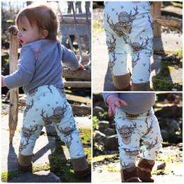Wholesale Little Summer Girls Leggings - christmas gift best kids boys girls Toddler Baby little Boy Girl Soft Harem casual Pants deer printed Trousers Bottom Leggings free shipping