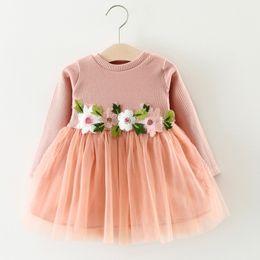 Wholesale Gray Pink Girls Dress - 2017 new arrive autumn pink white gray long-sleeve flowers baby young girls Nat yarn princess dress
