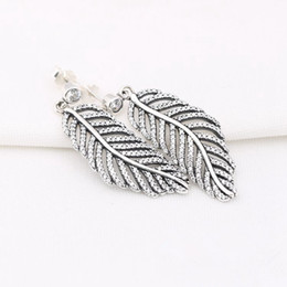 Wholesale Feather Fashion Earrings - Hot Sale Charm Earrings Crystal Feather Authentic 925 Sterling Silver Fashion Women Jewelry European Style For Pandora 026