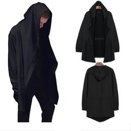 Wholesale Long Black Cape Hooded - Casual Mens Hooded Hip-hop Sweater Punk Cardigan Long Cloak Cape Coat Outwear