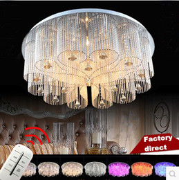 Wholesale Rain Drop Led Lights - Modern Rain Drop Rectangle K9 Crystal Chandelier Lighting Flushmount Fixture Lamp Round Ceiling Lights for Living Dining Conference