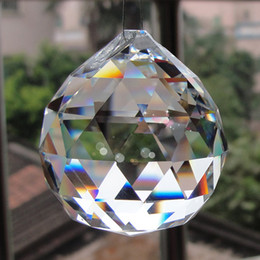 Wholesale Round Ball Crystal Chandeliers - 2018 New Hanging Clear Crystal Ball Sphere Prism Pendant Spacer Beads for Home Wedding Party Light Lamp Chandelier Decoration