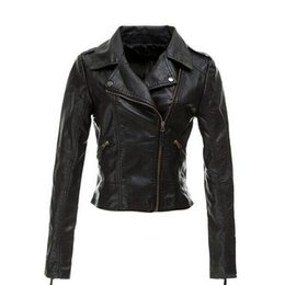 Wholesale Thin Leather Motorcycle Jacket - New products Women Black PU Leather Jackets 2015 Autumn Fashion Long-sleeve Zipper Slim Lapel Motorcycle Faux Leather Jacket Coats Plus Size