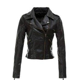 Wholesale Long Thin Leather Coat Women - New products Women Black PU Leather Jackets 2015 Autumn Fashion Long-sleeve Zipper Slim Lapel Motorcycle Faux Leather Jacket Coats Plus Size