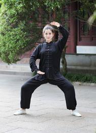 Wholesale White Kung Fu Suit - Free shipping Cotton martial arts kung fu set chinese Tai chi suit long sleeve shirt + pants for women kungfu uniform 5 Style