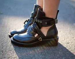 Wholesale Cool Motorcycle Women - 2016 new designer women ankle boots famous brand shoes women cool black buckle strap low heels women motorcycle boots casual