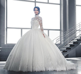 Wholesale Elegant Dresses For Girls - 2017 Elegant Ball Gown Wedding Dresses For Girls High Sheer Neck Long Sleeves Vintage Wedding Bridal Gowns with Lace Appliques