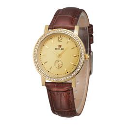 Ver réplicas online-2019 Mujeres Replicas Relojes de pulsera Relojes de pulsera de cuero de lujo digital Relojes de vestir de oro Relojes de cuero impermeable Marca Belbi