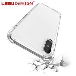 Wholesale Wholesale Iphone Silicone Gel Case - LEEU DESIGN air cushion shockproof gel tpu sound switching speaker transparent phone case anti shock cover for iphone x 6 7 8 plus s8 R11