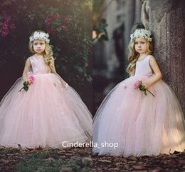 Wholesale Bush Lights - Cute Bush Pink Ball Gown Flower Girls Dresses With 3D Floral 2017 Square Open Back Kids Wear For Wedding Party Cheap Sale