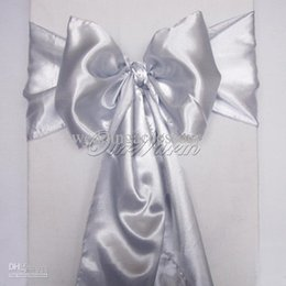 Wholesale Silver Chair Tie - Dark Silver Satin Chair Sash Wedding Party Supply Bows Tie Decor New Colors Crafts Gift -SAT