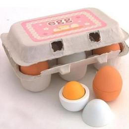 Wholesale Educational Egg - Freeshipping Educational Kid Pretend Play Toy Set Wooden Eggs Yolk Kitchen Cooking New Kitchens & Play Food