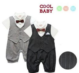 Wholesale Tutu Fashion China - Wholesale cheap China children2016new fashion infant toddler baby boys rompers pure cotton gentleman boys clothes with tie 80-90-95 3pcs lot