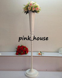 Wholesale Metal Centerpieces - new prouduct elegant Tall wedding pillar flower stand , white metal flower vase centerpieces for aisle decorecartion