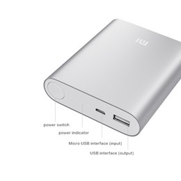 Wholesale Logos Tablet Pc - Good quality Xiaomi power bank logo 10400mAh portable usb power pack bank charger battery emergency battery for mobile phone tablet pc ipad