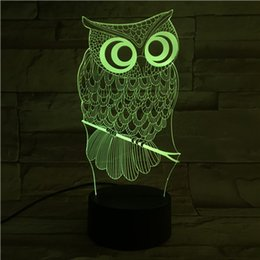 Wholesale Usb Color Changing Light - New Remote Control 3D Owl Table Lamp USB Colorful 7 Color Change LED Home Party Bedroom Decorative Night Light Gift wn280