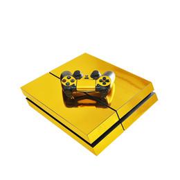 Adesivos de pele on-line-Estilo de Ouro Decalques de Vinil PS4 Adesivo de Pele conjunto completo Console de Pele + 2 Controlador de Pele Adesivos de Proteção