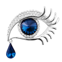 Spille d'argento blu online-Argento Placcato Stunning Diamante Lusso Teardrop Pendenti Cristalli Drop Blue Eye Spilla Belle Ciglia lunghe Donne Regalo Spilla Pins