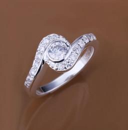 Wholesale Heart Shaped White Gold Ring - 925 silver swiss CZ diamond heart-shaped engagement flower ring fashion jewelry beautiful design free ship