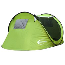 Wholesale Fast Protection One - Full-automatic One Sencond Quick Open Outdoors Tents Camping Shelters for 3-4 People UV Protection Tent for Beach Travel DHL Fast Shipping