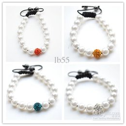 Wholesale Clay Pave Beads - best! 4 Mixed Color White Pearl Micro Pave CZ Disco10mm Ball Bead High Quality Micro Pave Crystal Shamballa Bracelet women jewelry hotsale