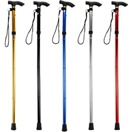 Wholesale Trekking Canes - Ultra-light 4-section Aluminum Alloy Adjustable Canes Outdoor Camping Hiking Walking Sticks Free Shipping