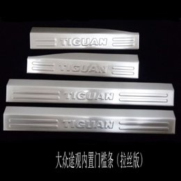 Wholesale Tiguan Door Sill Plate - For Volkswagen VW Tiguan 2010-2015 Door Sill Accessories Stainless Door Sills Scuff Plate Gaurds Pedal Protector Car Stickers 4pcs set