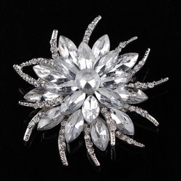 Wholesale Wholesale Silver Broach - fashion Big Crystal Top Quality Silver Tone Drop Brooch Exquisite Big Diamante Jewelry Brooch Large Crystal Women Broach 12