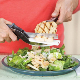 Wholesale Stainless Board - Kitchen Clever Smart Cutter 2 in 1 Knife Cutting Board Scissors Accessories Food Cheese Meat Vegetable Stainless Steel Cutter