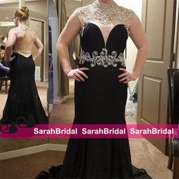 Wholesale Sleeved Formal Gowns - 2016 Black Full Lace Prom Formal Dresses with Beaded Pearls High Collar and Sheer Sleeved Charming Open Back Fit to Flare Long Evening Gowns