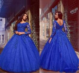 Wholesale Sexy Glamorous Prom Dresses - Glamorous vestidos Royal Blue Ball Gown Quinceanera Dresses Flowers Appliqued Floor Length Lace Up Long Sleeves Prom Evening Gowns