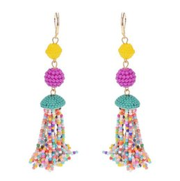 Wholesale Vintage Beaded Chandelier - Colorful seed beaded long tassel earrings women vintage ethnic gold drop earrings hot sale brinco wholesale and retail