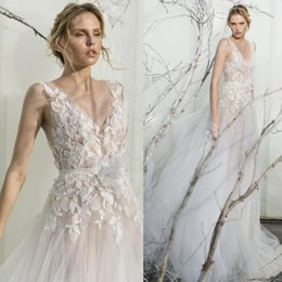 Wholesale Custom Left Hand - Mira Zwillinger 2017 Sexy Illusion Lace Leaves Wedding Dresses Sleeveless 3D-Floral Appliques V Neck Bridal Gowns Sleeveless Wedding Dress