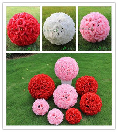 "Wholesale Encryption Rose Ball Wedding Decoration - 5pcs lot New Artificial Encryption Rose Silk Flower 25 CM 10"" Kissing Balls Hanging Ball Christmas Ornaments Wedding Party Decorations"