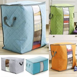 Wholesale Bedding Fabrics Wholesale - New Quilt Storage Bag Portable Prganizer Non Woven Clothing Pouch Holder Blanket Pillow Underbed Storage Bag Clothing Storage Bags WX-B18