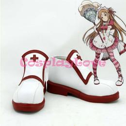 Wholesale Yuuki Asuna Cosplay - Wholesale-Custom Made Japanese Anime SAO Sword Art Online Season One Cosplay Yuuki Asuna Women's Shoes Boots For Christmas Halloween