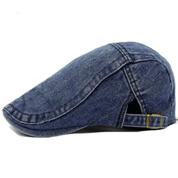 Wholesale Ivy Newsboy Golf Hats - Wholesale-Fashion Men Women Summer Denim Jeans Visors Hat Gatsby Cap Ivy Hat Golf Driving Sun Hat Flat Cabbie Newsboy Can Adjusted 13