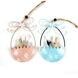 Decorações vintage de páscoa on-line-Decoração de páscoa fornece um par de azul de metal ovo de páscoa coelho flor decoração do partido do vintage suprimentos artesanato em metal pendurado