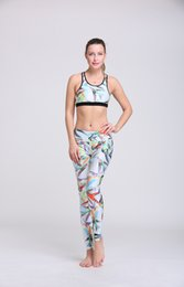 Wholesale Bra Chinese - Wholesale-2016 Women's Yoga Sets Bras Pants Sport 3D Printed Colorful Chinese monochromes Yoga Leggings Workout Fitness Gym Tops Bras