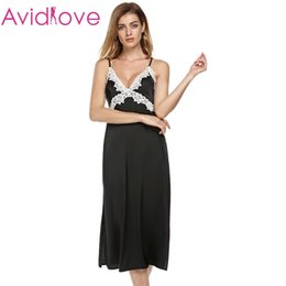 Wholesale Long Satin Nightgowns Women - Wholesale-Ekouaer long Satin nightgown Women Satin Lace Sleepwear Non-Cling Full Slip with Adjustable Straps Black Nightdress