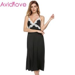 Wholesale Sexiest Satin Slips - Wholesale-Ekouaer long Satin nightgown Women Satin Lace Sleepwear Non-Cling Full Slip with Adjustable Straps Black Nightdress